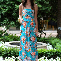Floral Strapless Maxi Dress, Turquoise