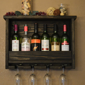 Rustic 6 bottle Wine Rack Shelf with 4 glass holder Reclaimed Wood