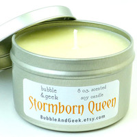 Stormborn Queen Scented Soy Candle   8 oz. tin  by bubbleandgeek