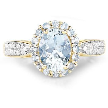 Yellow Gold 1CT Oval Cut Aquamarine Mined Diamond Halo Ring