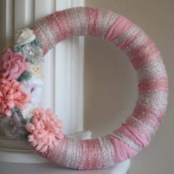 Pink Wreath, Girl's Room, Baby's Room, Flower Wreath, Wedding Wreath, Wedding Decor,