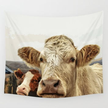 A cow greeting is like no other Wall Tapestry by anipani