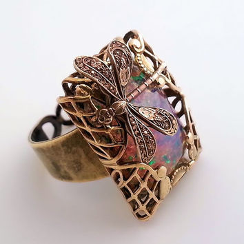 Fire Opal Dragonfly Ring, pink opal ring, harlequin opal statement ring brass ring, opal cocktail ring, adjustable filigree Art Deco fantasy
