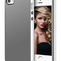 iPhone 5s Case, LoHi Apple iPhone 5 5s Soft TPU Bumper Cases [Drop Protection] Anti-Scratch Slim Back Cover for iPhone 5s /iPhone 5 5G (Gray/White)