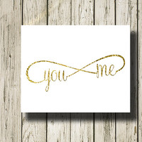 Infinity You Me Gold White Print Printable Instant Download Poster Wall Art Home Decor WG149wg