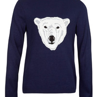 Navy Polar Bear sweater - TOPMAN USA