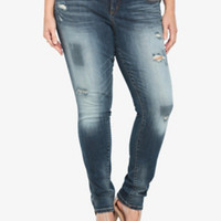 Torrid Skinny Jean - Medium Wash with Destruction (Short)