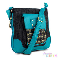 Mad Style Shellie Crossbody, Black Denim/Turquoise