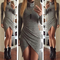 Autumn Women Knitted Long Sweater Dress Sexy Dress = 5660115905