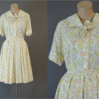 60s Yellow Floral Shirtwaist Dress, 38 bust, Full Pleated Skirt, 1960s Day Dress, Fit & Flare