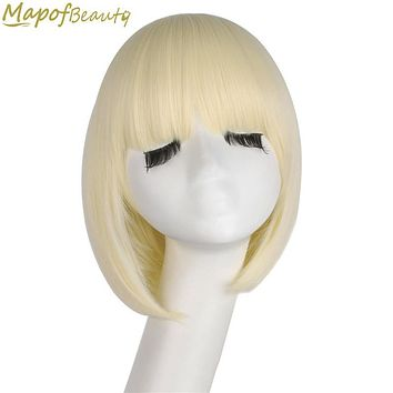 "Short Straight Synthetic Hair 12"" Light Blonde Bob Wig For Black Women Heat Resistant Costume Party Cosplay Wigs MapofBeauty"