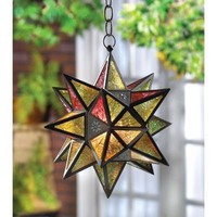 Moroccan Style Many Pointed Star Votive Candle Lantern