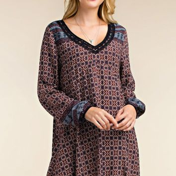 Elsie Border Printed Swing Dress