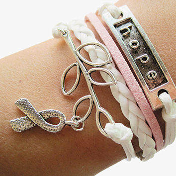 Braided Leather Breast Cancer Awareness Infinity Bracelet *LIMITED SUPPLY*