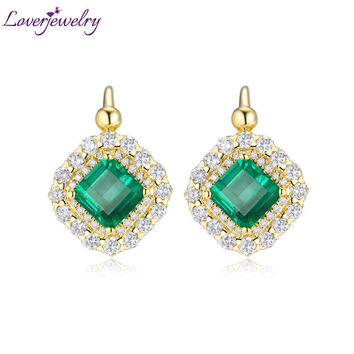 Luxury Genuine Gemstone Fine Jewelry Real 18Kt/AU750 Yellow Gold Diamond Green Emerald Wedding Earrings for Women Party Gift