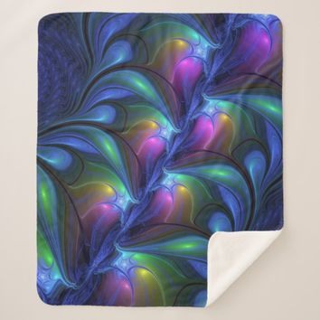 Colorful Luminous Abstract Blue Pink Green Fractal Sherpa Blanket