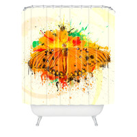 Msimioni Orange Butterfly Shower Curtain
