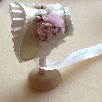 Blue trimmed white silk shaped bonnet handmade 1/12th scale dollhouse miniature