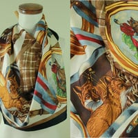 Vintage - 80s - Gold Horn - Horses - Foxes - Hunting Dogs - Equestrian Riders - Harness - Chains - Large Silk Scarf - Neck Wrap