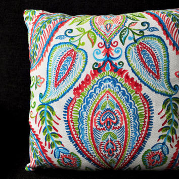 White Bright Color Floral Moroccan Paisley Poppy Pillow - 18x18 Cushion Cover