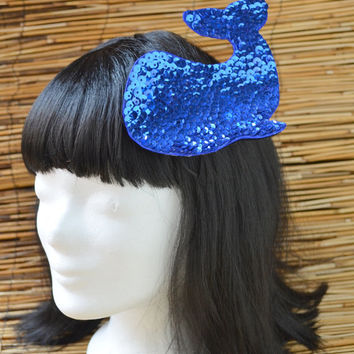 blue whale hairpin, headpiece blue, navy blue jewelry, hairclip dark blue, under the ocean, beach heme, foto prop, sequins navyblue