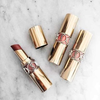 YSL Yves Saint Laurent Fashion Women Plastic Tube Round Tube Lipstick Bright Color Moist Lipstick(9-Color) I-AA-MND
