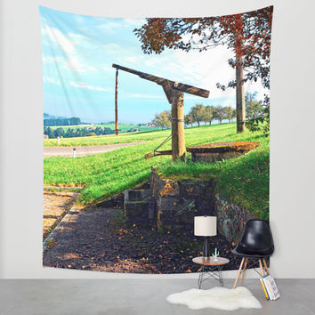Old fountain under the plum tree | landscape photography Wall Tapestry by Patrick Jobst | Society6