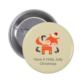 Orange Fox In Santa Hat Cute Whimsical Christmas Pinback Button