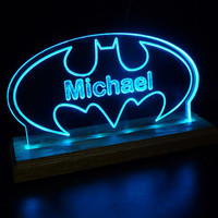 Batman USB Powered LED Sign, *Can Plug into wall outlet with standard USB Adapter