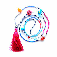 Tribal Pink Tassel Necklace - Long Seed Bead Necklace - Summer Necklace - Hippie Necklace - Tassel Jewelry - Color Block Necklace