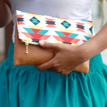 Foldover clutch purse, kaleidoscope clutch, zippered clutch, teal, black, red, orange and yellow and tanned