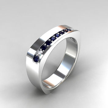 Blue sapphire and diamond wedding ring, european shank ring, men's modern wedding ring, men sapphire, wide, white gold, men diamond band