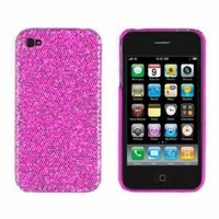 Hot Pink Sparkles Case Cover For Apple iPhone 4, 4S (AT&T, Verizon, Sprint)