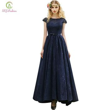 2017 New SSYFashion Evening Dress Navy Blue Lace Beading Cap Sleeve Floor-length Banquet Elegant Party Gown Custom Formal Dress