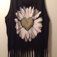 Daisy Heart hippie boho fringe shirt sz medium/large