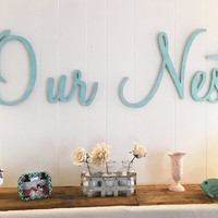 Our Nest Wall Sign Shabby Chic Cottage Wall Decor  Family Room Rustic Word Decor  FREE SHIPPING!!!!!!!
