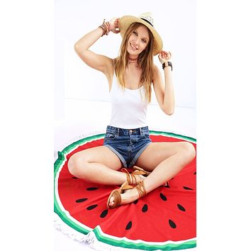 Watermelon Round Fringe Beach Towel Throw Blanket