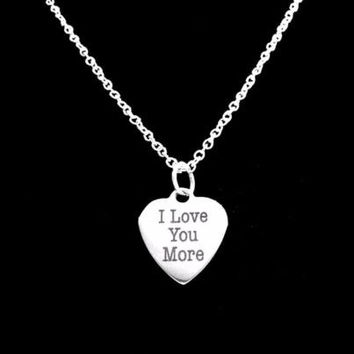 I Love You More Heart Valentine Gift Wife Girlfriend Mom Charm Necklace