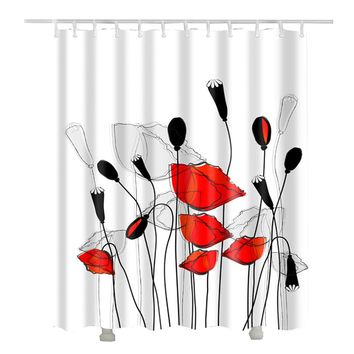 Chic Red Flower Shower Curtains