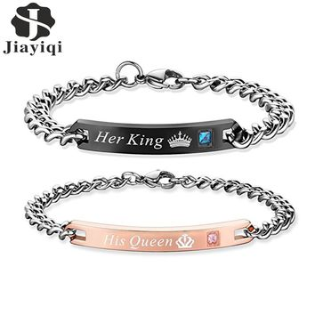 $0.01+SHIPPING COST! His Queen Her King Bracelets with Crystal (Limit 5 Per Customer)