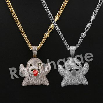 """Iced Out 14K PT Gold SNAPCHAT GHOST Pendant W/5mm 24"""" 30"""" Cuban Chain"""