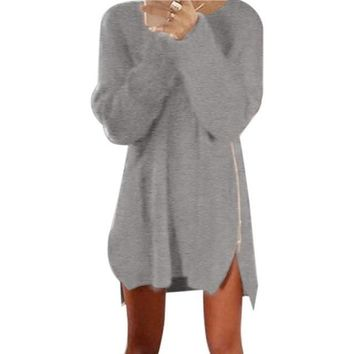 Long Sleeve Side Zip Knitted Sweater