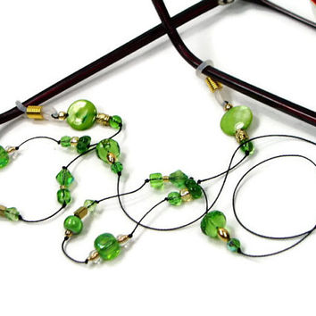 Spring Green Eyeglass Chain, Reading Glasses Lanyard, Glasses Holder, Stylish Eyewear, Glasses Leash, TJBdesigns