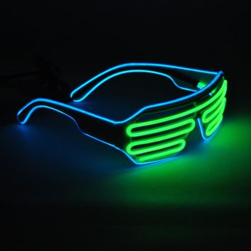 Emazing Lights 2-Color EL Wire Neon LED Light Party DJ Up Bright Shutter Shaped Glasses Rave Sunglasses