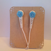 Petite Baby Blue Rose Earbuds With Swarovski Crystals