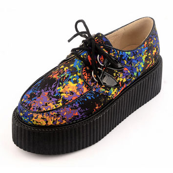 Fashion Flower pattern Handmade Cotton Suede Inside Lace UP Flat PlatForm Women's Goth Creepers Punk Wedge Casual Shoes Creepers shoe Pumps