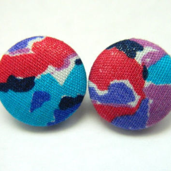 Button Earrings Colorful Abstract