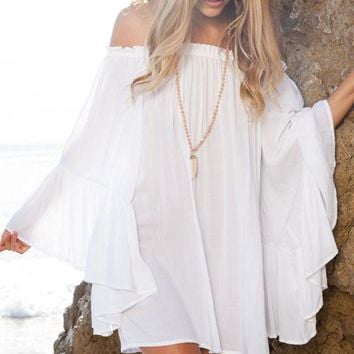 Chicloth White Ethereal Chiffon Mini Dress