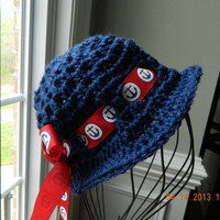 Anchors away, girls navy crocheted sun hat/red white navy anchor ribbon/photo prop/Newborn/nautical/READY to SHIP/FREE Shipping