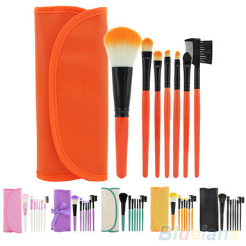 7Pcs Cosmetic Makeup Tool Powder Blush Eyelash Brow Concealer Lip Brush Kit Set 4DZP